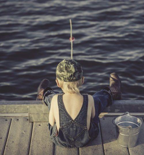 boy, fishing, water
